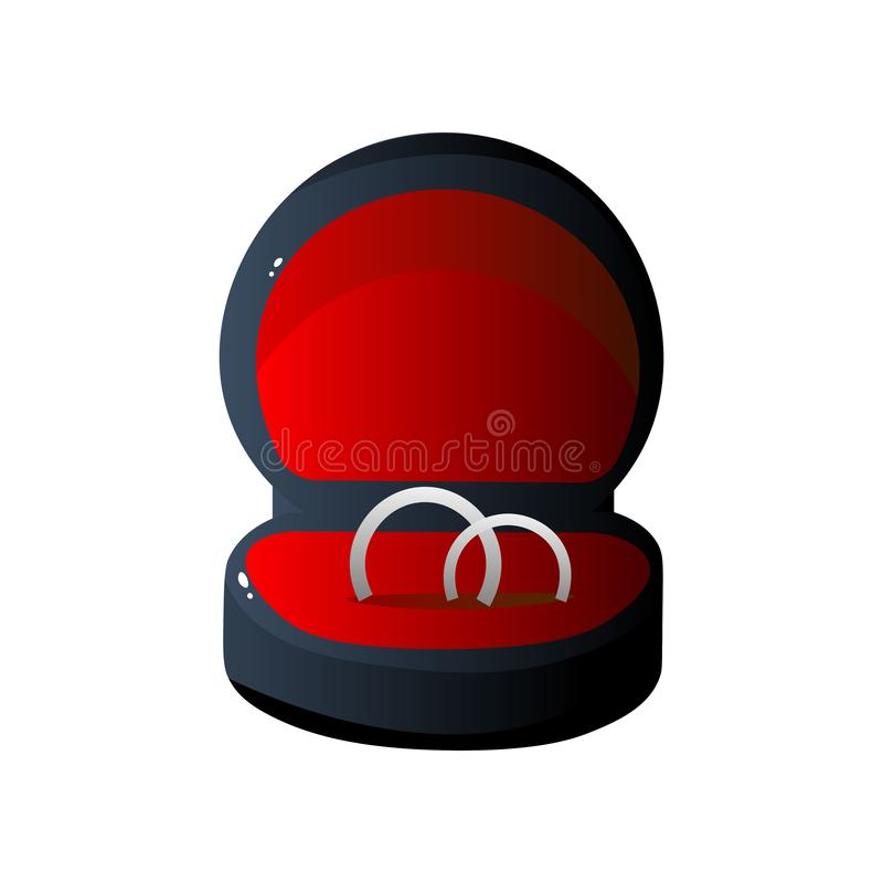 Y rojo caja de regalo abierta terciopelo negro con los anillos de compromiso, ejemplo formado redondo del vector de la caja de la ilustración del vector