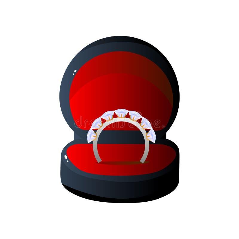 Y rojo caja de regalo y anillo abiertos terciopelo negro con las piedras preciosas, ejemplo formado redondo del vector de la caja libre illustration