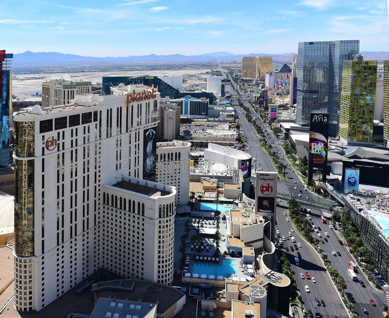 Y x27; Strip& x27; en Vegas que parece en dirección Sur fotos de archivo