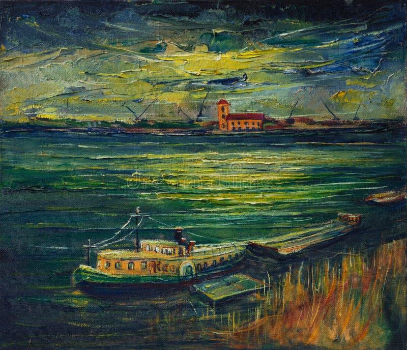 Y_Sunset após uma tempestade do verão em Danube River ilustração stock