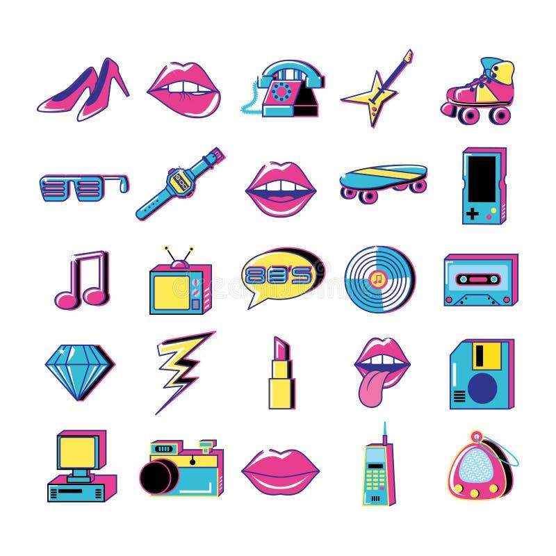 80 y 90 wystrzału sztuki ustalonych ikon ilustracji