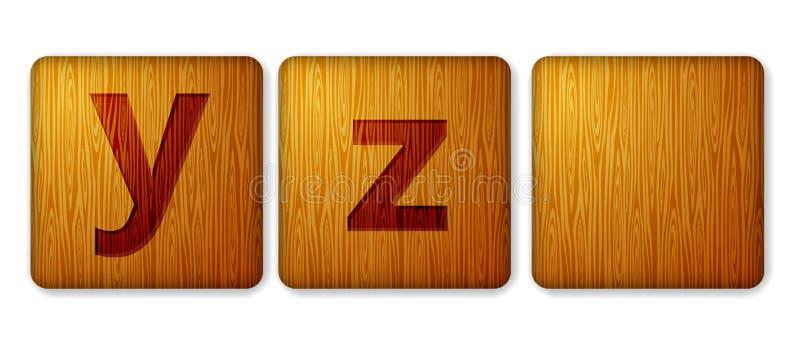 Y, z преграждает деревянный значок Кубы алфавита с письмами стоковое фото