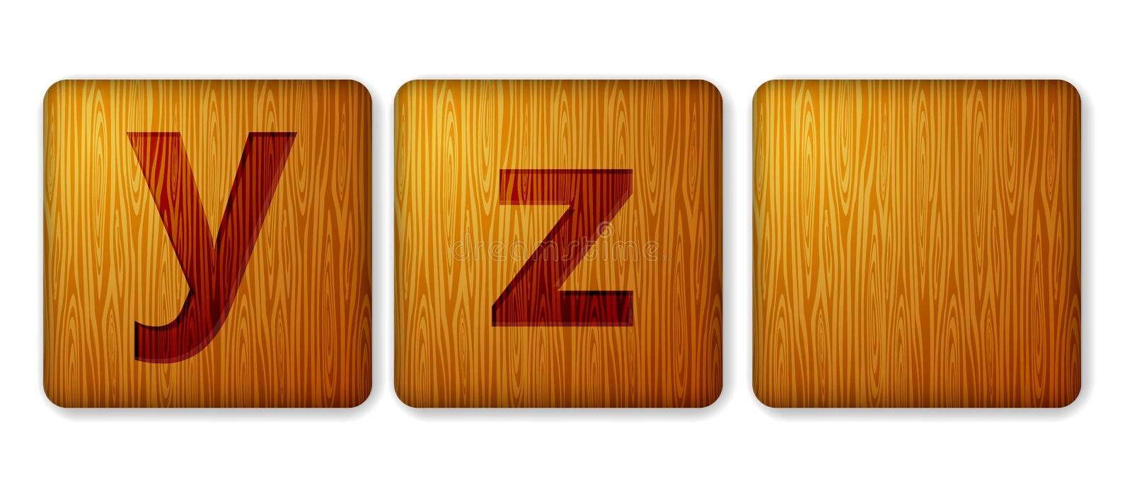 Y, Z blocks wooden icon. Alphabet cubes with letters stock photo