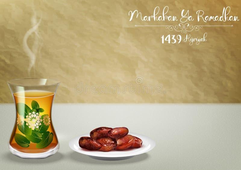 Ya de Marhaban ramadhan Celebración del partido de Iftar con la taza de té tradicional y un cuenco de fechas stock de ilustración