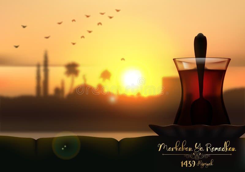 Ya de Marhaban ramadhan Una taza de té en fondo hermoso de la puesta del sol stock de ilustración