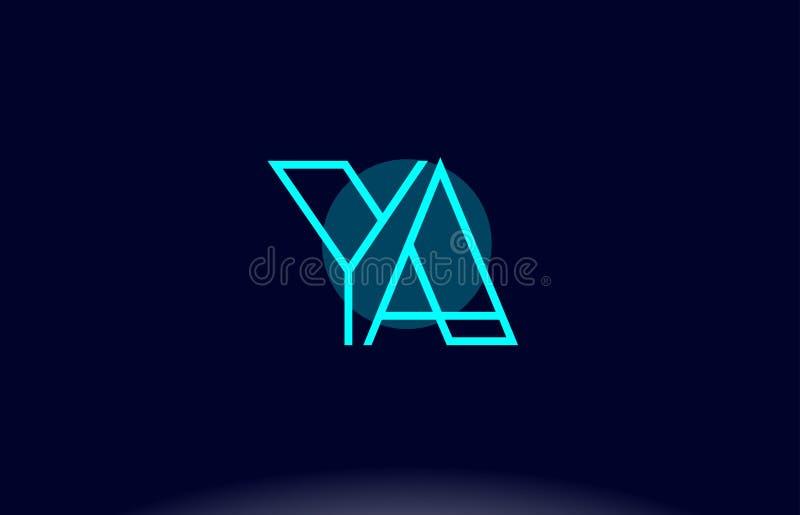 ya y una línea azul vecto de la plantilla del icono del logotipo de la letra del alfabeto del círculo libre illustration