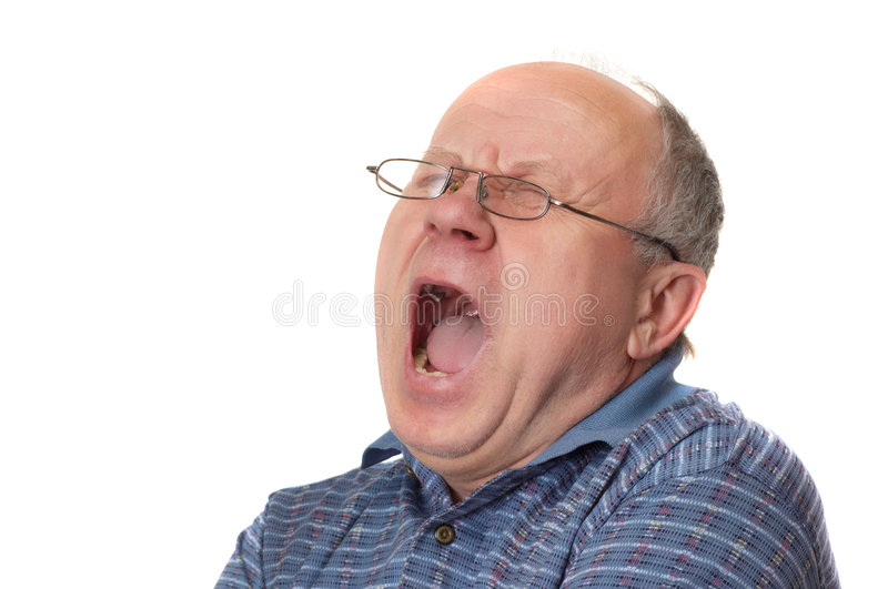 Yaaaaawn. Bald senior man yawns. Emotional portraits series. Isolated on white royalty free stock photos