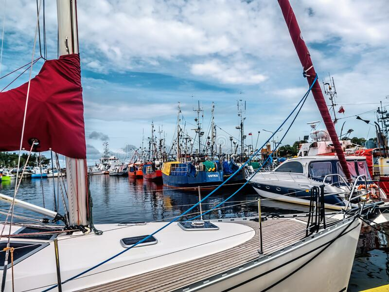 Yach marina and fishing port, Ustka, Poland stock image