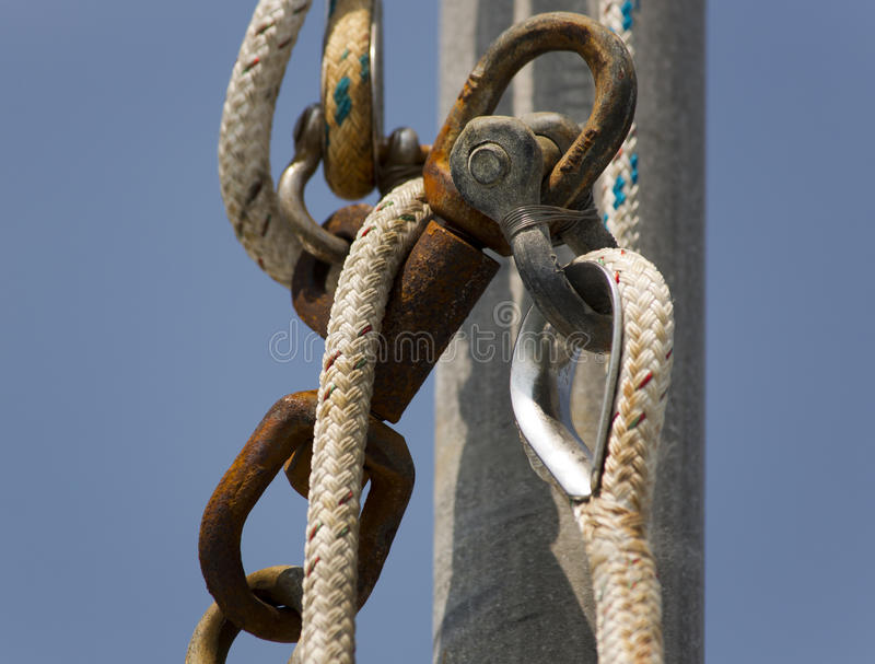 Yacht, équipement marin photographie stock