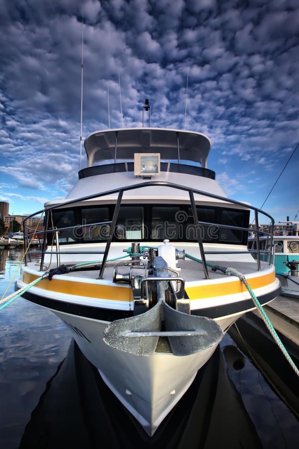 Yacht. The front part of a yacht at Herbert, Australia royalty free stock image