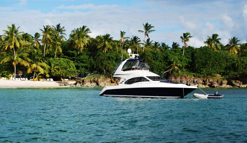 Yacht. Beautiful yacht exploring exotic destination stock images