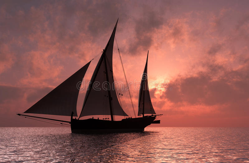 The yacht. Yacht in the sea at sunset vector illustration