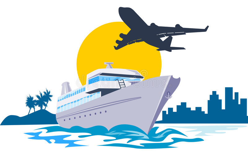 Yacht with Airplane flying royalty free illustration