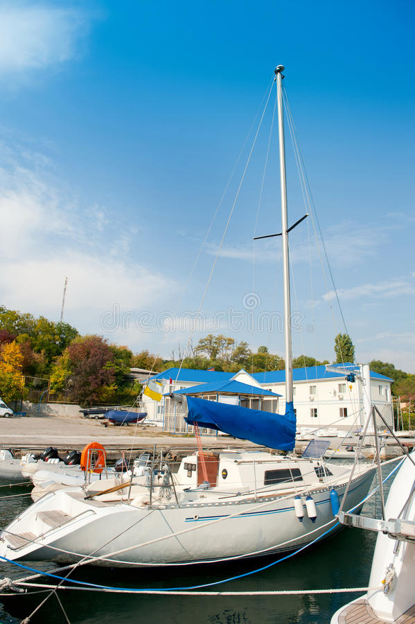 Download Yacht On An Anchor In Harbor. Stock Image - Image: 24118177
