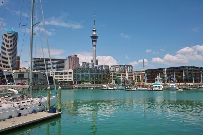 Yacht am Auckland-Hafen stockfotografie