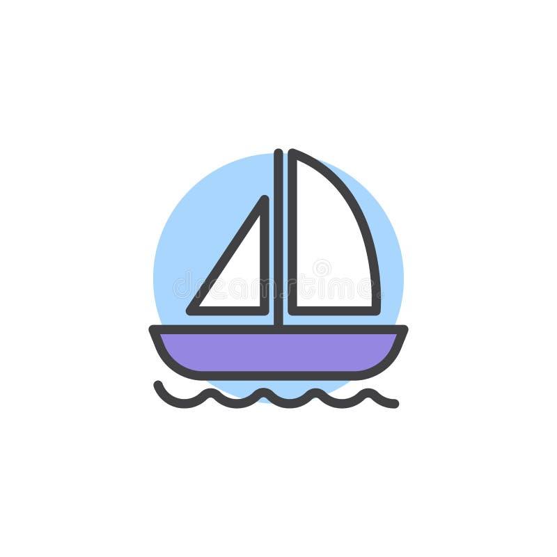 Yacht auf Wellen gefüllter Entwurfsikone stock abbildung