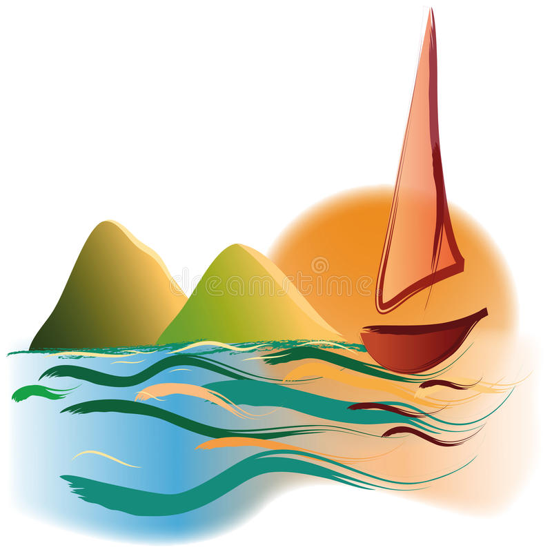 Yacht aux montagnes de coucher du soleil image libre de droits