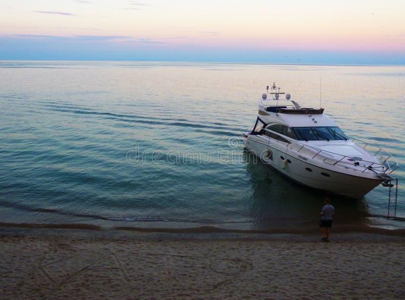 Yacht on Baikal stock images