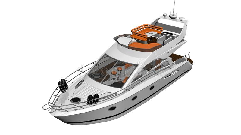 Yacht, barco luxuoso, embarcação isolada no fundo branco, 3D rendem ilustração do vetor