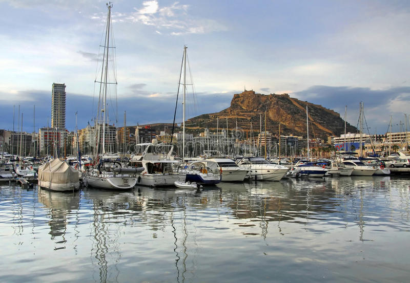 Download Yacht bay of Alicante stock image. Image of fort, santa - 13288351