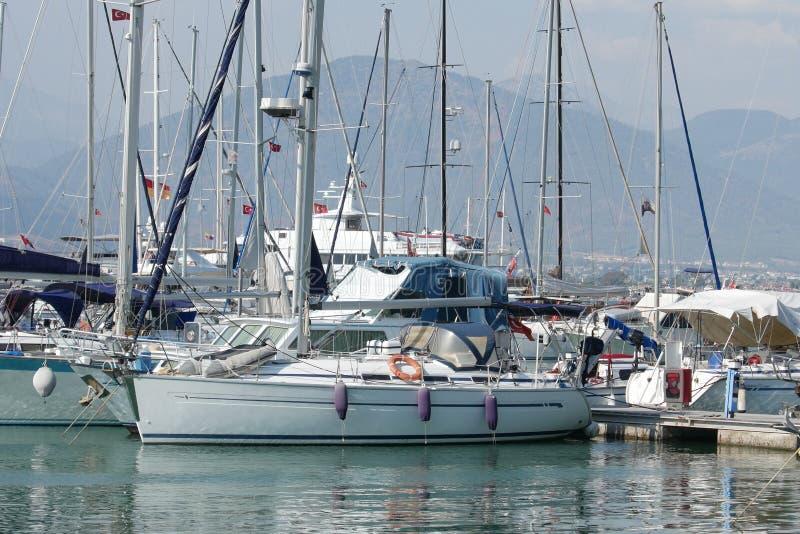 Yacht berth in Fethiye Marina, Mugla, Turkey. NYachts at the pier in the marina Fethiye, Mugla, Turkey stock image