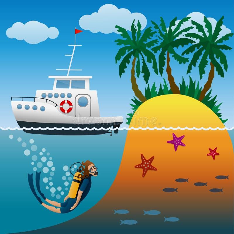 Yacht bianco di crociera nell'incursione vicino all'isola tropicale con le palme Subaqueo sotto acqua Tuffarsi il mare aperto illustrazione di stock