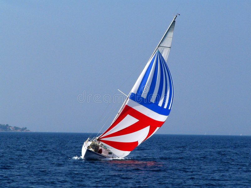 Yacht with big sail royalty free stock images
