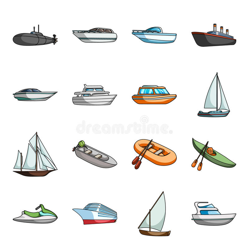 Free Yacht, Boat, Liner, Types Of Ship And Water Transport. Ship And Water Transport Set Collection Icons In Cartoon Style Stock Images - 95968904