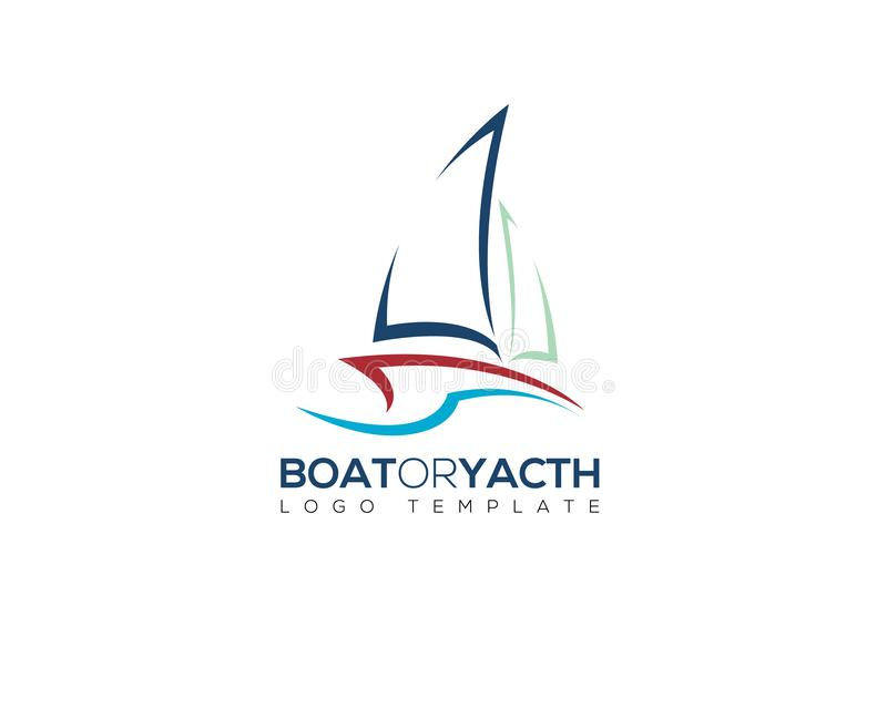 Yacht boat in negative space logo with summer ocean wave simple line silhouette. Yacht boat in negative space logo with summer ocean wave and simple line royalty free stock photos