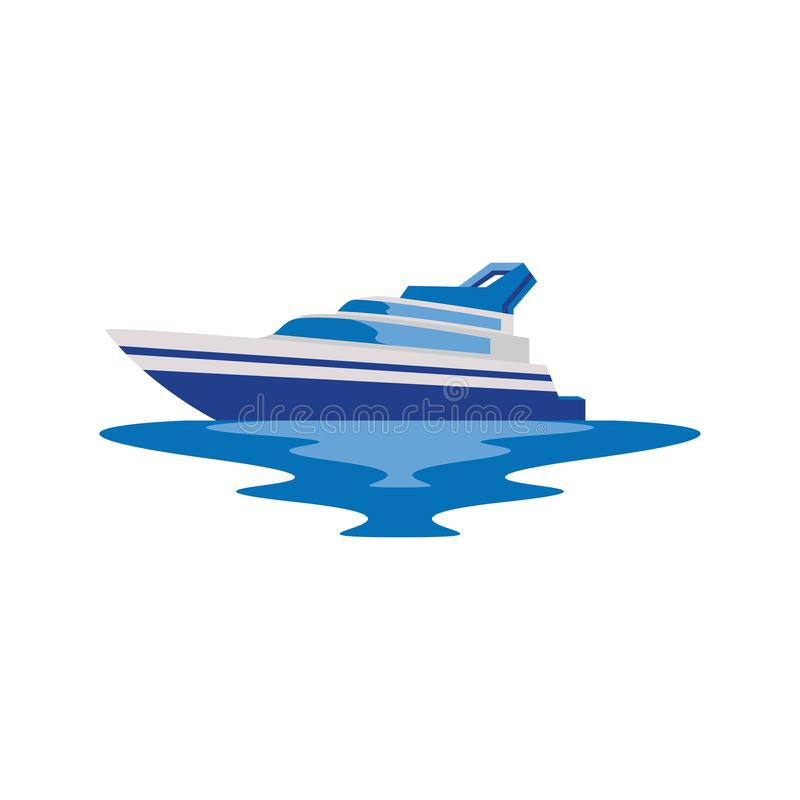 Yacht Boat Ship in the Sea Logo and Icon royalty free illustration