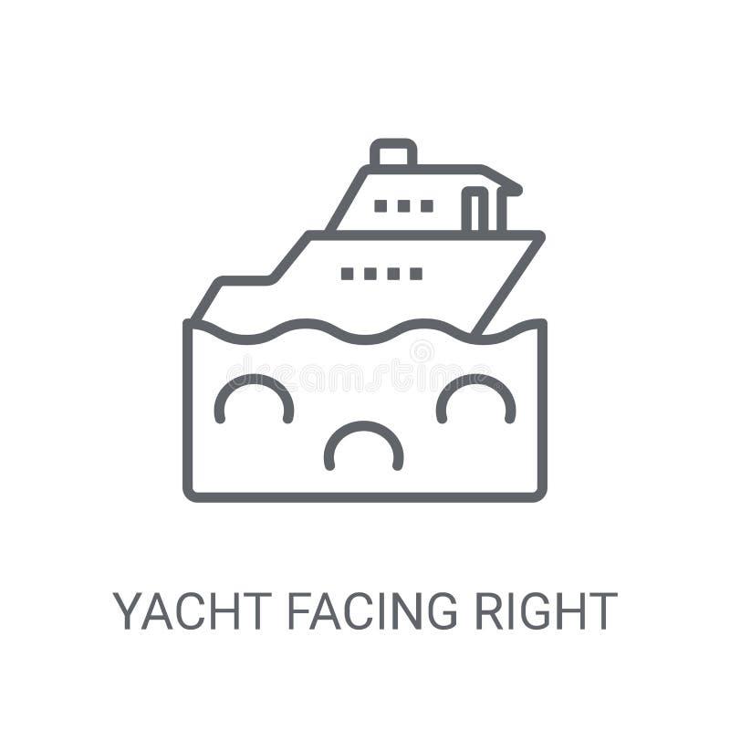 Yacht che affronta giusta icona Yacht d'avanguardia che affronta giusto concetto di logo illustrazione di stock