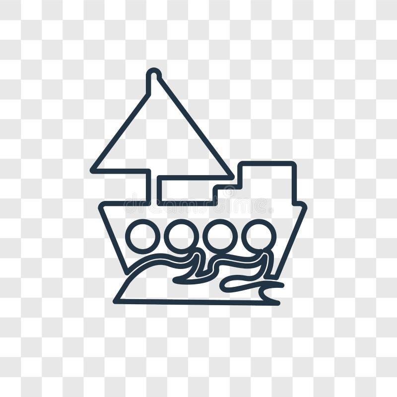 Yacht che affronta l'icona lineare di giusto vettore di concetto isolata su transp royalty illustrazione gratis