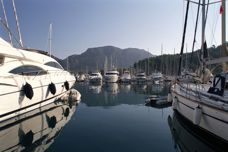 Yacht-club. Sail and motor yachts mooring in mediteranian yacht-club royalty free stock image