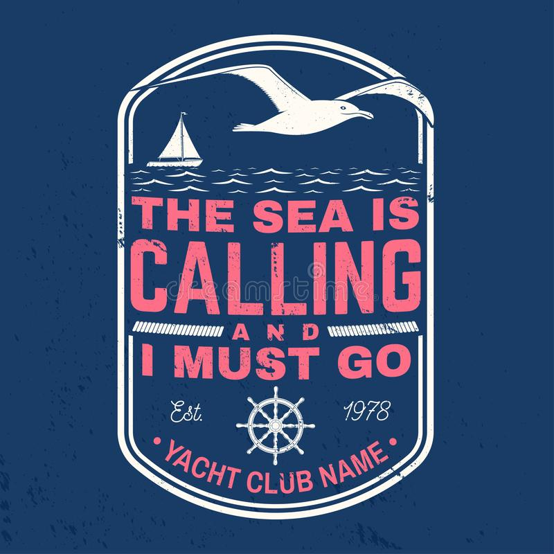 Free Yacht Club Badge. Vector. Concept For Shirt, Print Or Tee. Vintage Design With Sailing Ship, Steering Hand Wheel Ship Stock Photography - 146302742