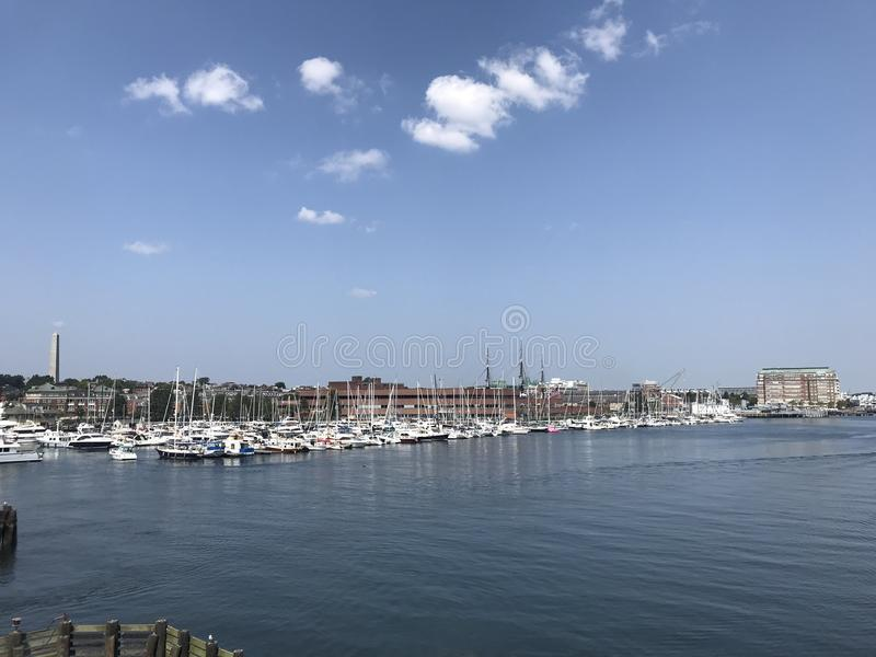 Yacht Club in Boston. Massachusetts, USA at summertime in sunny day afternoon royalty free stock photo