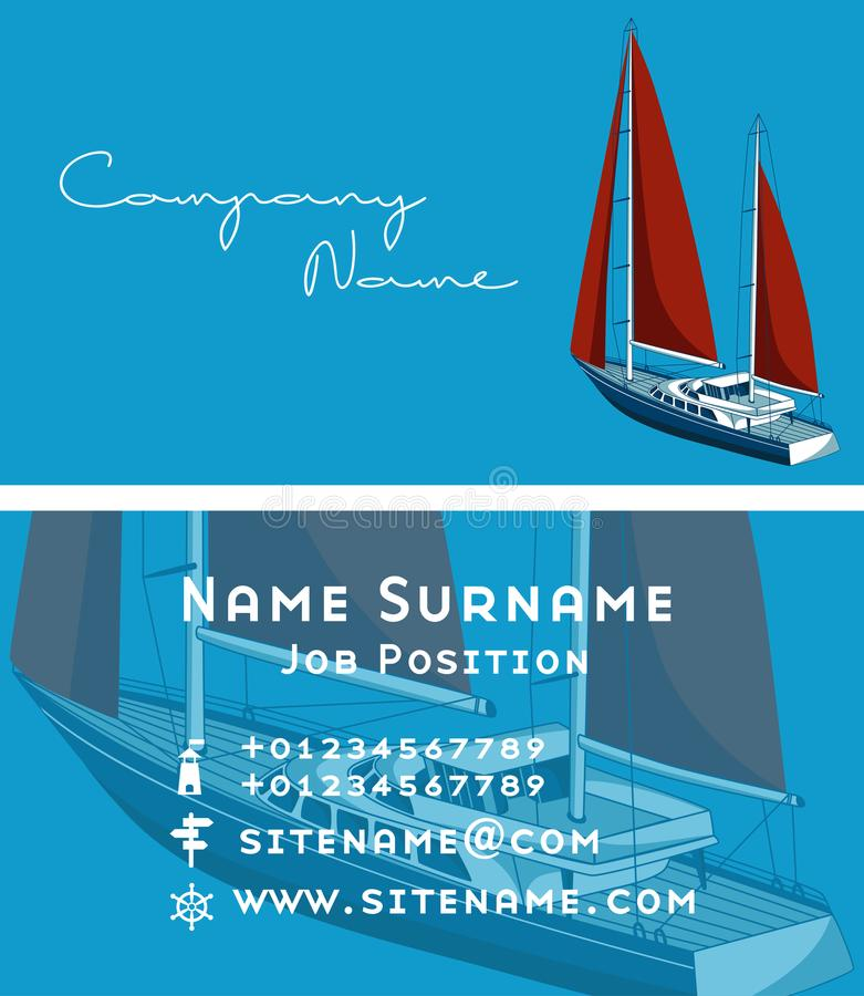 Yacht Club Business Card Design With Sail Boat Stock Illustration ...