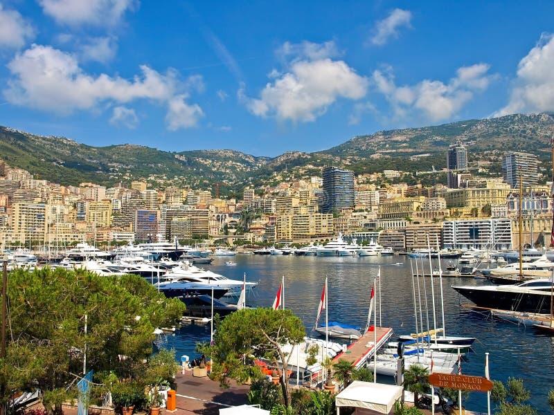 Yacht Club de Monaco. View of the Monte Carlo from Yacht Club de Monaco royalty free stock image
