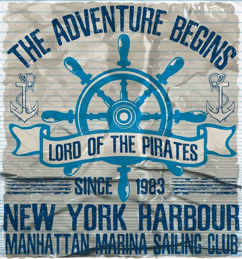 Yacht club di navigazione dell'oceano, materiale illustrativo di vettore di lerciume per la maglietta illustrazione di stock