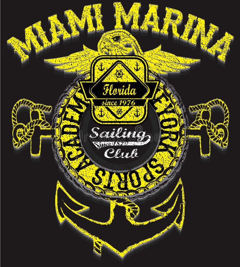 Yacht club di navigazione dell'oceano, materiale illustrativo di vettore di lerciume per la maglietta royalty illustrazione gratis