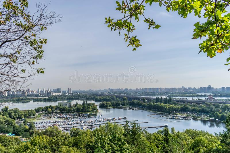 Yacht Club on the Dnieper River. View from a height of the Hryshko National Botanical Garden in Kiev, Ukraine royalty free stock images