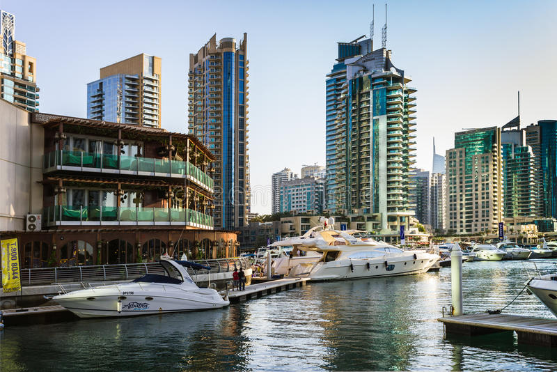 Yacht Club in Dubai Marina. UAE. November 16, 2012 royalty free stock images