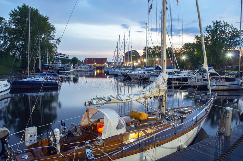 Yacht club. Multiple Types of boats stopped at Yacht Club royalty free stock images