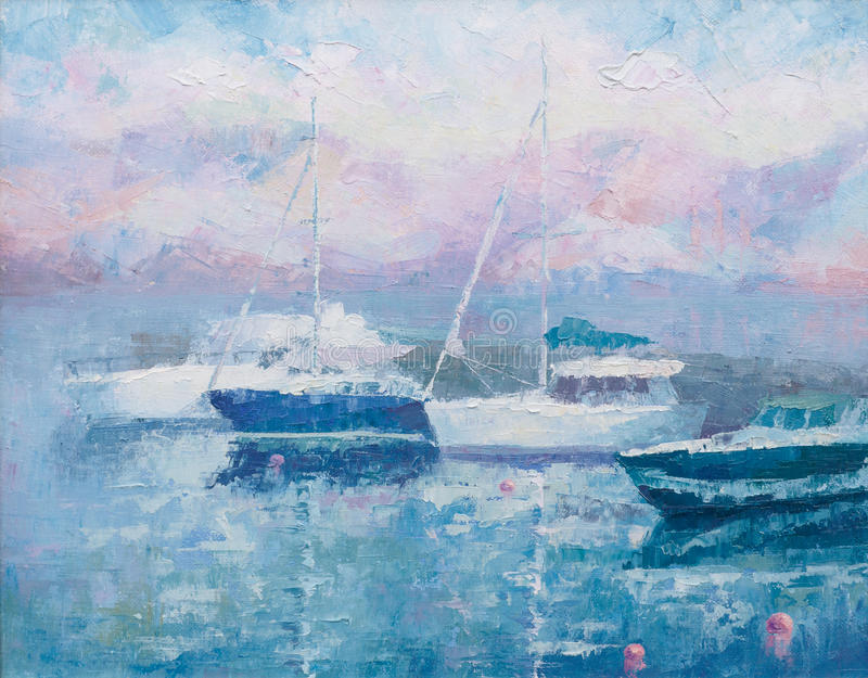 Yacht club in the pink morning stock images