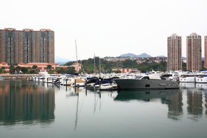 Yacht club port. In Hong Kong Gold coast royalty free stock photo