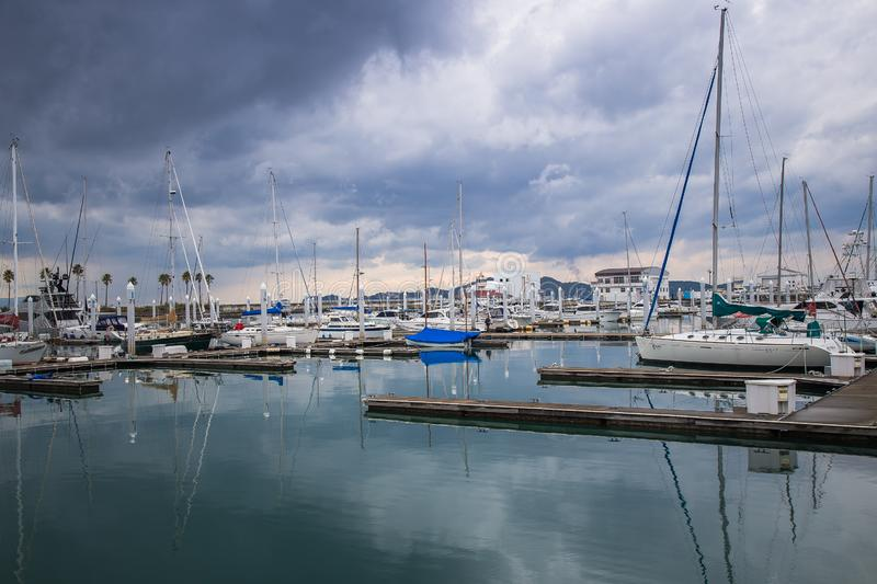 Yacht club after rain with mirror water reflect stock image