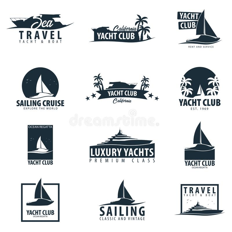 Yacht club and sailing sport logo, labels, emblems and design elements. Sea travel. Vector illustration. Yacht club and sailing sport logo, labels, emblems and vector illustration
