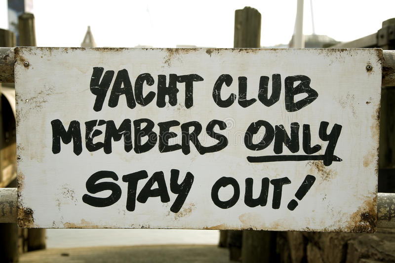Yacht club sign. Indicating to stay out stock photos