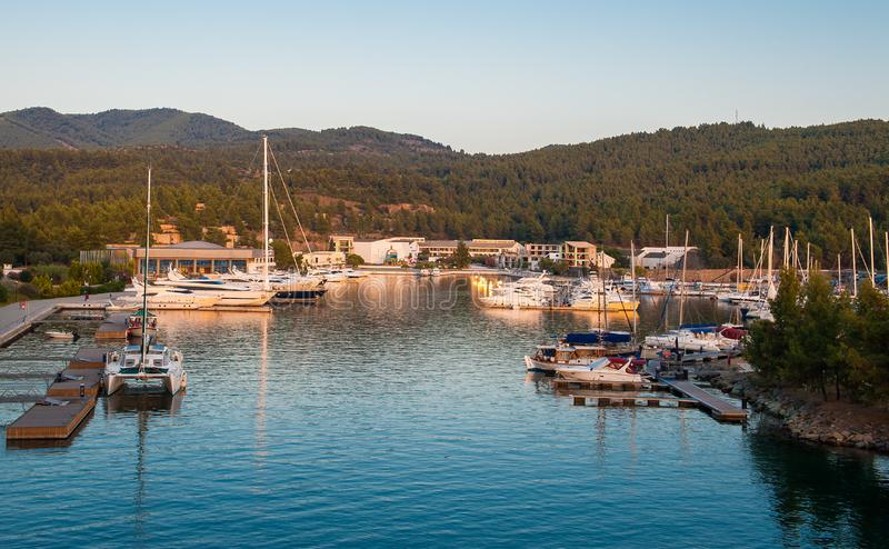 Yacht club at sunset, parking for boats stock images