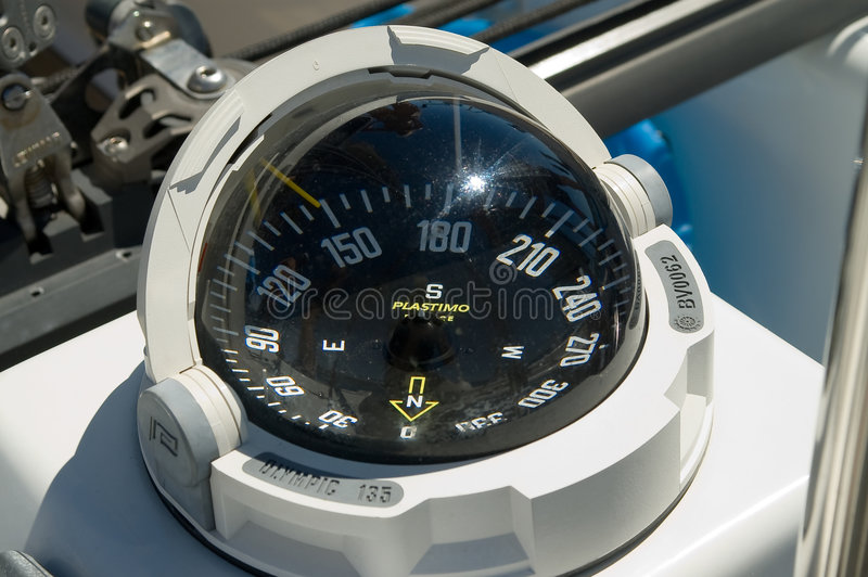Yacht compass stock image