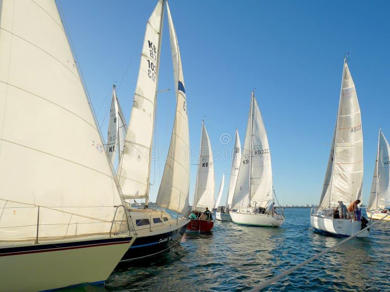 Yacht competes in a regatta for Koombana Bay Sailing Club members in Bunbury. Bunbury, Western Australia - February 10: Yacht competes in a regatta for Koombana royalty free stock images